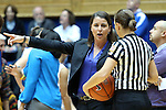 06 December 2012: Duke head coach Joanne P. McCallie (left) talks to a referee. The Duke University Blue Devils played the Georgia Tech University Yellow Jackets at Cameron Indoor Stadium in Durham, North Carolina in an NCAA Division I Women's Basketball game. Duke won the game 85-52.