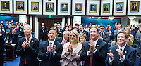 TALLAHASSEE, FLA. 11/18/14-ORGSESS111814CH-Gov. Rick Scott, left, Lt. Gov. Carlos Lopez-Cantera, Attorney General Pam Bondi, Chief Financial Officer Jeff Atwater, and Agriculture Commissioner Adam Putnam applaud during Organizational Session, Nov. 18, 2014 at the Capitol in Tallahassee.<br /> <br /> COLIN HACKLEY PHOTO