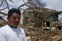Quintana Roo, Mexico. Thursday, August 23, 2007. Jose de Jesus stands in-front of his ruined house. The town of Mahahual was hardest hit when the category 5 Hurricane Dean made landfall in Mexico with 300km/h winds.