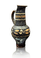Early 3rd century B.C oenochoe, wine jug, with a trilobata spout, black and overpainted , inv 4380,   National Archaeological Museum Florence, Italy, white background