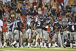 Ole Miss linebacker Allen Walker (9) celebrates blocking a field goal at Vaught-Hemingway Stadium in Oxford, Miss. on Saturday, September 25, 2010. Ole Miss won 55-38.