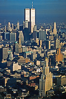 Brooklyn and Manhattan, Twin Towers and Williamsburg Savings Bank Building, Aerial,  New York City, New York, USA