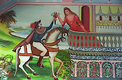"A ""Romeo and Juliet"" type scene painted on the wall of a Roma home, in the new part of the Sintesti Roma camp. Romantic scenes are very popular as wall decoration."