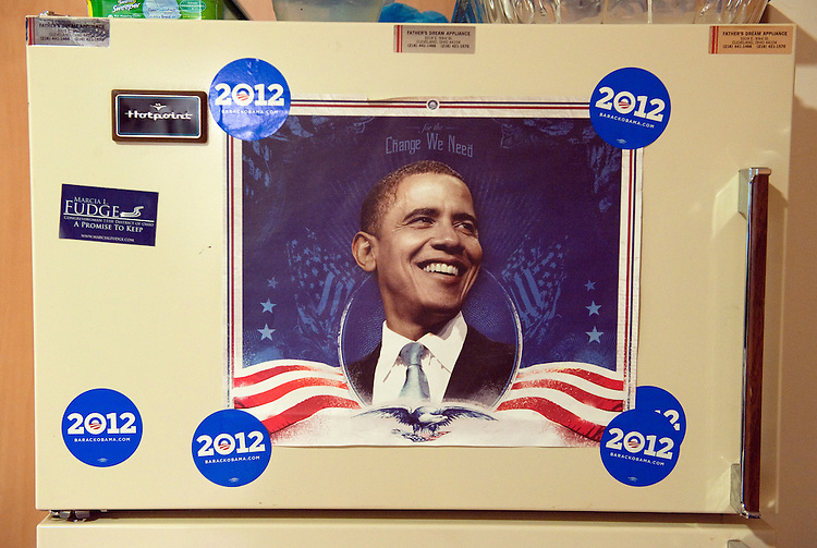 UNITED STATES - FEBRUARY 12:  An image of President Barack Obama appears on a refrigerator in his campaign office in Cleveland, Ohio. (Photo By Tom Williams/CQ Roll Call)