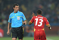 Ghana's Andre Ayew scolds Hungarian referee Viktor Kassai on a foul called against him. Ghana defeated the U.S., 2-1, in extra time to advance to the quarterfinals, Saturday, June 26th, at the 2010 FIFA World Cup in South Africa..