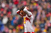 Eric Alexander (12) of the New York Red Bulls reacts to a missed scoring opportunity. The New York Red Bulls and D. C. United played to a 0-0 tie during a Major League Soccer (MLS) match at Red Bull Arena in Harrison, NJ, on March 16, 2013.