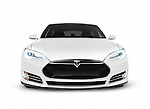 2017 Tesla Model S luxury electric car front view isolated on white background with clipping path