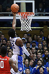 15 November 2014: Duke's Justise Winslow (12). The Duke University Blue Devils hosted the Fairfield University Stags at Cameron Indoor Stadium in Durham, North Carolina in an NCAA Men's Basketball exhibition game. Duke won the game 109-59.