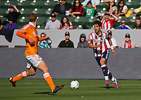 CARSON, CA - March 11, 2012: Chivas USA forward Juan Pablo Angel (9) during the Chivas USA vs Houston Dynamo match at the Home Depot Center in Carson, California. Final score Houston Dynamo 1, Chivas USA 0.