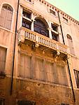Italian building with balcony in Venice