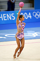Irina Tchachina of Russia expresses with ball during All-Around final at 2004 Athens Olympic Games on August 29, 2006 at Athens, Greece. Irina won silver in the All-Around final. (Photo by Tom Theobald)