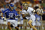 29 April 2016: Notre Dame's Sergio Perkovic (16) and Duke's Jamie Ikeda (13). The University of Notre Dame Fighting Irish played the Duke University Blue Devils at Fifth Third Bank Stadium in Kennesaw, Georgia in a 2016 Atlantic Coast Conference Men's Lacrosse Tournament semifinal match. Duke won the game 10-9 in overtime.
