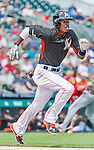 10 March 2015: Miami Marlins infielder Dee Gordon in Spring Training action against the Washington Nationals at Roger Dean Stadium in Jupiter, Florida. The Marlins edged out the Nationals 2-1 on a walk-off solo home run in the 9th inning of Grapefruit League play. Mandatory Credit: Ed Wolfstein Photo *** RAW (NEF) Image File Available ***