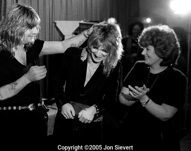 "Receiving 1981 ""Best New Guitarist Award from Guitar Player Magazine--Dec 1981.Ozzy Osbourne, Randy Rhoads, Sharon Osbourne.57-1-22"