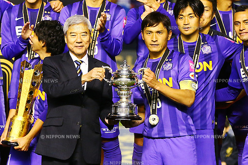(L-R)<br /> Kuniya Daini,<br /> Toshihiro Aoyama (Sanfrecce),<br /> DECEMBER 5, 2015 - Football / Soccer : <br /> 2015 J.League Championship Final 2nd leg match<br /> between Sanfrecce Hiroshima - Gamba Osaka<br /> at Hiroshima Big Arch in Hiroshima, Japan.<br /> (Photo by Shingo Ito/AFLO SPORT)