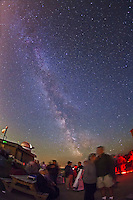 The summer Milky Way was in good form under clear skies this night, arcing across the sky from south to north...Public and local astronomers gathered at the Rothney Astrophysical Observatory on July 21, 2012 for one of the annual Milky Way Nights presented by the RAO. From 10 pm to 2 am several hundred people stargazed under clear skies, enjoyed the naked eye views of the Milky Way and telescopic views of deep-sky objects such as nebulas and galaxies. Volunteers from the Calgary Centre of the Royal Astronomical Society of Canada and staff from TELUS Spark helped present the stars to the public.
