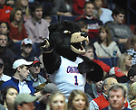 The University of Mississippi's Rebel the Black Bear mascot cheers at the Mississippi State game at the C.M. &quot;Tad&quot; Smith Coliseum in Oxford, Miss. on Wednesday, January 18, 2012. Mississippi won 75-68. (AP Photo/Oxford Eagle, Bruce Newman).