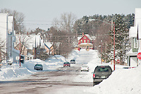 Winter street scene in Calumet Michigan.