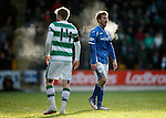 St Johnstone v Celtic...13.12.15  SPFL  McDiarmid Park, Perth<br /> Stuart Armstrong and David Wotherspoon on a very cold day at McDiarmid Park<br /> Picture by Graeme Hart.<br /> Copyright Perthshire Picture Agency<br /> Tel: 01738 623350  Mobile: 07990 594431