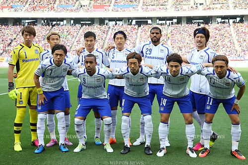 Gamba Osaka team group line-up,<br /> MAY 29, 2016 - Football / Soccer :<br /> Gamba Osaka team group shot (Top row - L to R) Masaaki Higashiguchi, Takashi Usami, Yasuyuki Konno, Daiki Niwa, Patric, Keisuke Iwashita, (Bottom row - L to R) Yasuhito Endo, Ademilson, Hiroki Fujiharu, Koki Yonekura and Shu Kurata before the 2016 J1 League 1st stage match between F.C.Tokyo 1-0 Gamba Osaka at Ajinomoto Stadium in Tokyo, Japan. (Photo by AFLO)