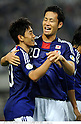 (L-R) Shinji Kagawa, Maya Yoshida (JPN), OCTOBER 11, 2011 - Football / Soccer : Shinji Kagawa of Japan celebrates with his teammate Maya Yoshida after scoring their fourth goal during the 2014 FIFA World Cup Asian Qualifiers Third round Group C match between Japan 8-0 Tajikistan at Nagai Stadium in Osaka, Japan. (Photo by Takamoto Tokuhara/AFLO)