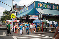 Back to School specials advertised on a store in the primarily Dominican New York neighborhood of Washington Heights on Sunday, August 12, 2012. (© Richard B. Levine)