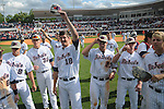 Mississippi players tip their caps to the outfield crowd vs. LSU at Oxford-University Stadium on Sunday, April 25, 2010 in Oxford, Miss. Ole Miss won 7-6 to sweep the three game series