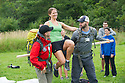 Sahmon  Fallahian, M.D., from left, Sabrina Bedell, class of 2016, John Chisholm, M.D., resident, family medicine, demonstrate how to carry a patient. Outdoor team building activities. Wilderness medicine.
