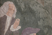 Detail of Voltaire from a fresco entitled La Periode Classique, 1 of a series of 4 paintings depicting the 4 ages of French art, showing the French royal court in the gardens of the Palais de Versailles, with Marie Antoinette and the Dauphin, Mabel Gage, Voltaire and Antoine Watteau painting his painting L'Indifferent of 1716, painted in Art Deco style in 1929-30 by Robert La Montagne Saint-Hubert, 1887-1950, and 2 assistants, Ethel Wallace and James Newell, 1900-1985, 1 of 6 frescoes which were discovered during works in 1994 and restored in 2011, in the Grand Salon or Great Hall of the Fondation des Etats Unis or American Foundation, designed by Pierre Leprince-Ringuet, 1874-1954, and inaugurated in 1930, in the Cite Internationale Universitaire de Paris, in the 14th arrondissement of Paris, France. The Grand Salon is listed as a historic monument. The CIUP or Cite U was founded in 1925 after the First World War by Andre Honnorat and Emile Deutsch de la Meurthe to create a place of cooperation and peace amongst students and researchers from around the world. It consists of 5,800 rooms in 40 residences, accepting another 12,000 student residents each year. Picture by Manuel Cohen. Further clearances may be requested.