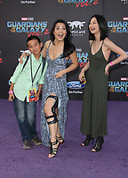 HOLLYWOOD, CA - April 19: Ming-Na Wen, Michaela Zee, Cooper Dominic Zee, At Premiere Of Disney And Marvel's &quot;Guardians Of The Galaxy Vol. 2&quot; At The Dolby Theatre  In California on April 19, 2017. <br /> CAP/MPI/FS<br /> &copy;FS/MPI/Capital Pictures