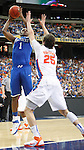 Chandler Parsons guards Darius Miller in the championship of the 2011 SEC Men's Basketball Tournament between Kentucky and Florida, played at the Georgia Dome, Sunday, March 13, 2011.  Miller was named SEC Tournament Most Valuable Player and SEC All-Tournament team.  Photo by Latara Appleby | Staff