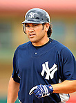 16 March 2007: New York Yankees outfielder Johnny Damon reaches first base during a spring training game against the Houston Astros at Osceola County Stadium in Kissimmee, Florida...Mandatory Photo Credit: Ed Wolfstein Photo