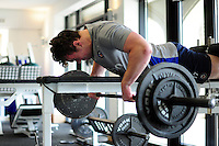 Jack Edmonson of Bath Rugby in the gym. Bath Rugby pre-season training on June 21, 2016 at Farleigh House in Bath, England. Photo by: Patrick Khachfe / Onside Images