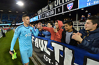 San Jose, CA - Friday April 14, 2017: David Bingham, fans  during a Major League Soccer (MLS) match between the San Jose Earthquakes and FC Dallas at Avaya Stadium.