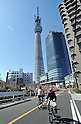 March 18, 2011, Tokyo, Japan - The Tokyo Sky Tree, a telecommunication tower under construction in downtown Tokyo, reaches the 634-meter tidemark on Friday, March 18, 2011. The new Tokyo landmark, the world's tallest self-standing structure with two observatories and commercial facilities, is scheduled to begin operating in spring of 2012. (Photo by Natsuki Sakai/AFLO) [3615] -mis-....