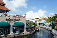 Waterway, restaurants, and shops in La Isla Shopping Village mall in the Zona Hotelera, Cancun, Quintana Roo, Mexico.