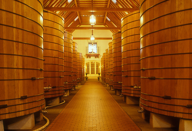 Wine barrels age wine at Jordan Winery, Healdsburg, CA