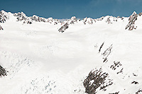 Aerial view of Franz Josef Glacier neve and Main Divide, Westland National Park, West Coast, New Zealand