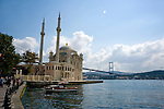 Ortakoy Mosque at Bosphorus Sea in Istanbul, Turkey