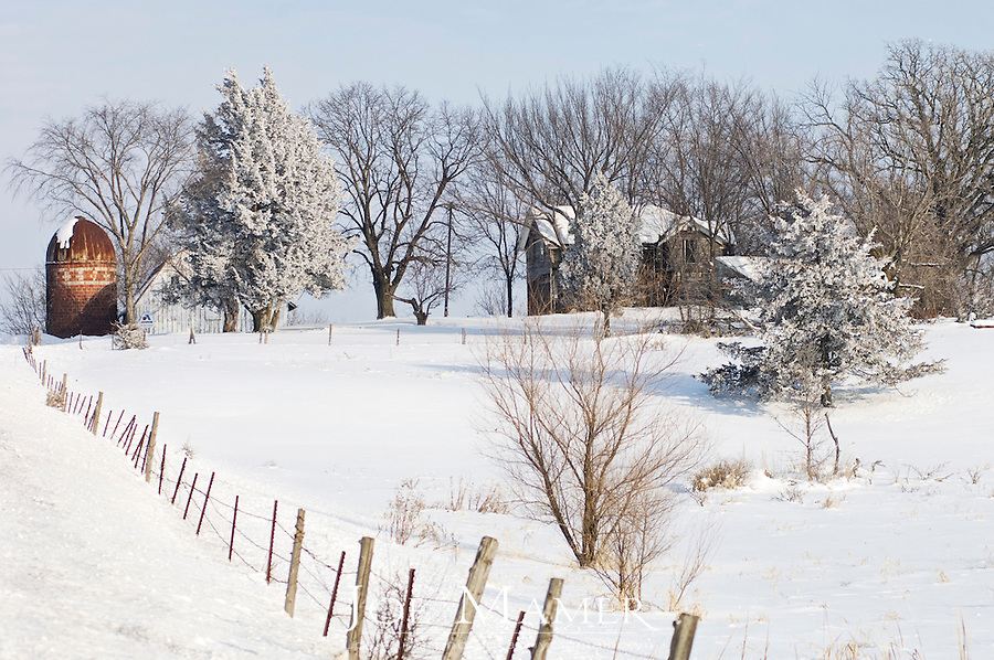 Hoarfrost covers the trees on a rural Minnesota farm scene in winter.