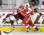 Danielle Welch (BC - 17), Carly Warren (BU - 6) - The Boston College Eagles defeated the Boston University Terriers 2-1 in the opening round of the Beanpot on Tuesday, February 8, 2011, at Conte Forum in Chestnut Hill, Massachusetts.