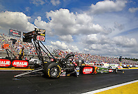 Mar 13, 2015; Gainesville, FL, USA; NHRA top fuel driver Terry McMillen during qualifying for the Gatornationals at Auto Plus Raceway at Gainesville. Mandatory Credit: Mark J. Rebilas-