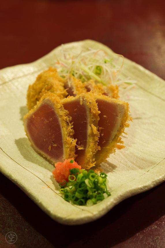 Fried sashimi served at a Japanese Izakaya restaurant.