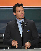 Antonio Sabato, Jr. makes remarks at the 2016 Republican National Convention held at the Quicken Loans Arena in Cleveland, Ohio on Monday, July 18, 2016.<br /> Credit: Ron Sachs / CNP<br /> (RESTRICTION: NO New York or New Jersey Newspapers or newspapers within a 75 mile radius of New York City)