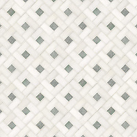 Oxford, a hand-cut stone mosaic, shown in polished Thassos and Ming Green.
