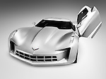 Silver Chevrolet Corvette Stingray concept sports car with butterfly doors isolated on gray background with clipping path