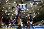 14 December 2015: Duke's Azura Stevens (11) shoots over UMass's Maggie Mulligan (center) and Kymber Hill (31). The Duke University Blue Devils hosted the University of Massachusetts Minutewomen at Cameron Indoor Stadium in Durham, North Carolina in a 2015-16 NCAA Division I Women's Basketball game. Duke won the game 70-46.