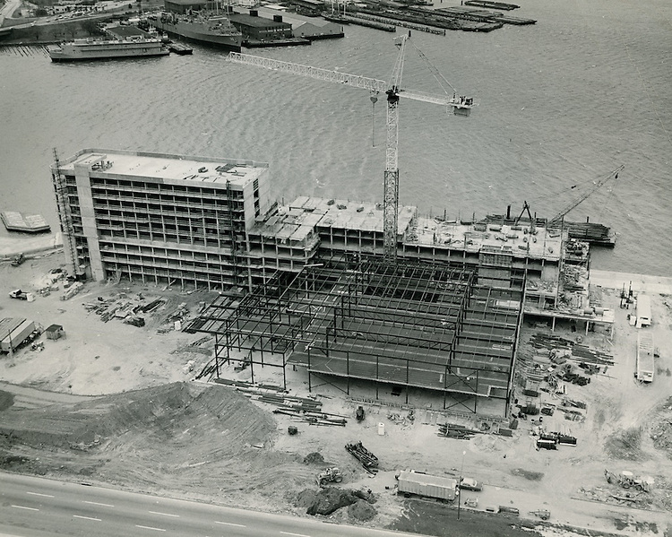 1975 April 05..Redevelopment.Downtown South (R-9)..Omni Hotel Construction taken at 1PM..John Servais.NEG# 2203 #4.NRHA#..