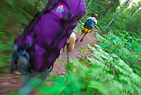 Backpackers on a trail in Pictured Rocks National Lakeshore near Munising, Michigan.