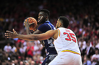 Terrapins Damonte Dodd plays tough defense against Hoyas Jessie Govan. Maryland defeated Georgetown 75-71 during a game at Xfinity Center in College Park, MD on Wednesday, November 17, 2015.  Alan P. Santos/DC Sports Box